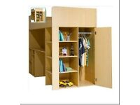 High sleeper bed with built in wardrobe, desk and shelving