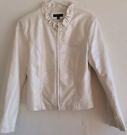 Faux Leather Jacket Beige Zip-Up Ruffle Collar Jacket By Revue
