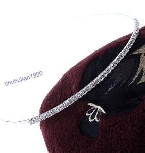 Fashion Silver Plated Clear Rhinestone Hair Band Headband Hoop