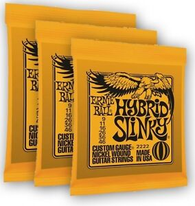 3 x Packs  ERNIE BALL - HYBRID SLINKY ELECTRIC STRINGS 9-46 Nickel * Super Price