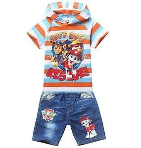 Size 6/7 Paw Patrol Graphics Hoodie Tee/Denim Short Set