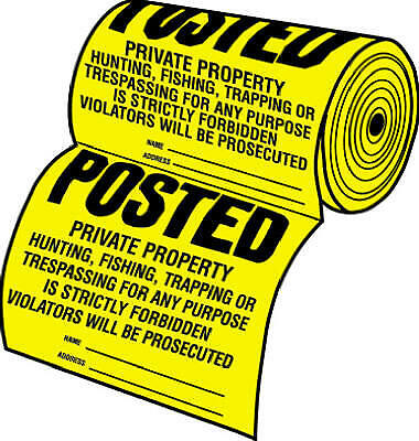 """Hy-Ko TSR-100 Tyvek (Legal) Posted Private Property Sign, 12"""" x 12"""", 100-Count"""