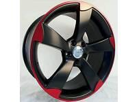"NEW 19"" AUDI TTRS ROTOR BLACK EDITION ALLOY WHEELS X4 BOXED 5X112 A3 A4 A6 TT VW GOLF CADDY TOURAN"