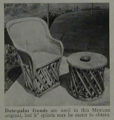 Mexican Willow Chair & Taboret 1947 How-To build PLANS