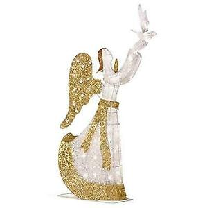 Lighted Angel Outdoor Christmas Decorations.5 Lighted Angel With Dove Outdoor Christmas Decoration