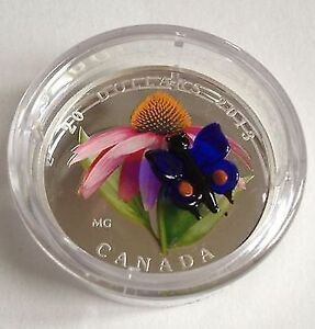 $20  Coin - Purple Coneflower with Venetian Glass Butterfly