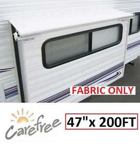 NEW CAREFREE RV AWNING FABRIC - 131137114 - 47 Inch BY 200 Inch CUT TO SIZE REPLACEMENT RV AUTOMOTIVE WHITE