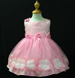 Pp476 pink easter holiday wedding party flower girls dress outfit sz 1
