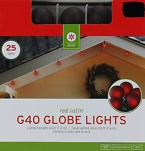 Globe String Red LED Light Set - 25 G40 Bulbs 25 ft BRAND NEW