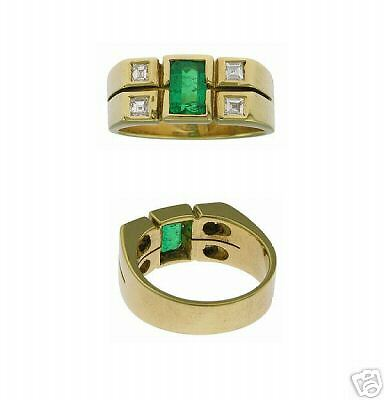 Estate 18k Yg Ladies Emerald Diamond Ring