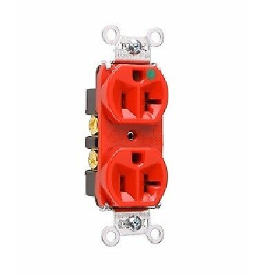 P & S 8300-HRED Heavy Duty Hospital Grade Duplex Receptacle, 20A 125V, 5-20R,Red ()