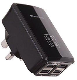 4 USB Ports Mains Charger UK Plug Adapter for sale  Blackburn, Lancashire