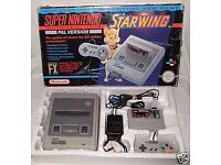 SNES SUPER NINTENDO - I am looking for games, a console, and any accessories.