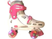 FR Lightning Storm White/Pink Quad adjustable Roller Skates, with original box **Flashing Wheels**