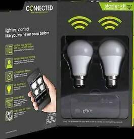 TCP Connected Smart bulb wireless Kit Inc 4 White Bulbs, like Philips hue