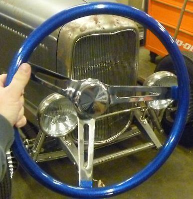 VINTAGE STYLE BLUE METALFLAKE STEERING WHEEL RAT HOT ROD CUSTOM GASSER VW VAN