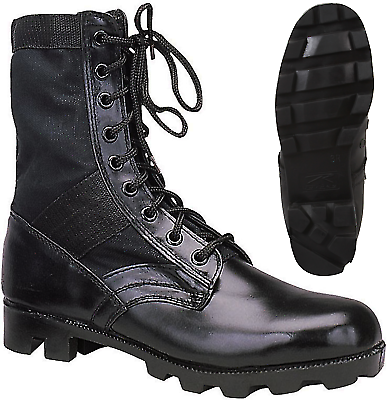Black Leather Military Jungle Boots Panama Sole Tactical Combat Army Vietnam Boots