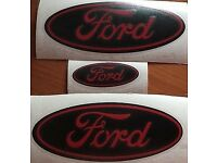 FORD FIESTA ZETEC ZETEC S -ST MK7.5 RED/BLACK FORD GEL BADGE OVERLAYS YEAR 2013 - 2017 ONLY SET OF 3