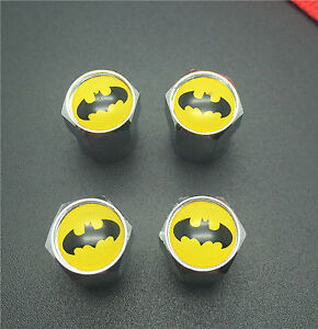 Batman, Superman, Checkered Valve Stem Caps - 4 Pack