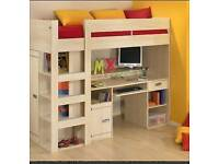 Gima High Sleeper With Desk And Shelving