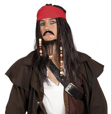Seeräuber Perücke Pirat mit Bandana, Schnurrbart und Bart - Perücke Und Schnurrbart