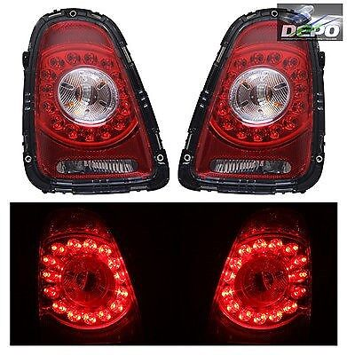 2007-2010 Mini Cooper Hatchback Convertible LED Tail Lights Red Clear DEPO