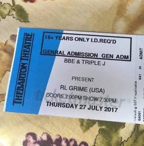 SELLING 2X HARD COPY TICKETS FOR RL GRIME/TKAY MAIDZA!! Woodville North Charles Sturt Area Preview
