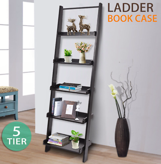 Wooden Wall Rack Leaning Ladder Shelf Unit Bookcase Display Home