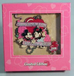 WDW-Happy-Valentines-Day-2008-Mickey-Minnie-3D-Jumbo-NEW-Boxed-Pin-LE500