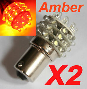 2X BA15S 36 LED 1156 Amber Yellow Car indicator bulb light  P21W 12V DC