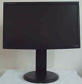 Used Black IIyama ProLite 22inch Widescreen LCD Monitor | Tilt & Height Adjustable Good Condition
