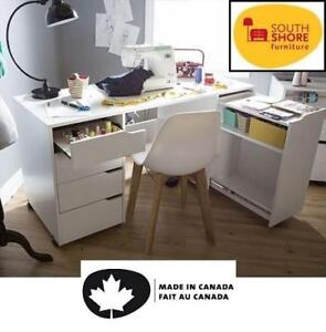 NEW SOUTH SHORE SEWING CRAFT TABLE - 126316708 - CREA SEWING CRAFT TABLE ON WHEELS - PURE WHITE
