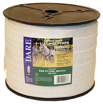 Electric Fence Tape White Poly 15-wire Stainless Steel 1.5-in. X 656-ft.
