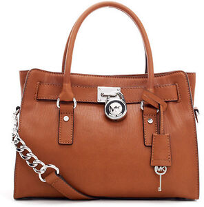 MICHAEL-KORS-Brown-Leather-Silver-Padlock-Hamilton-E-W-Satchel-Tote-Luggage-NWT