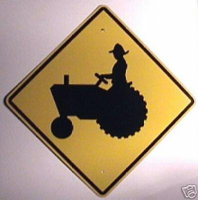 REAL 24 X 24 TRACTOR CROSSING STREET TRAFFIC SIGN