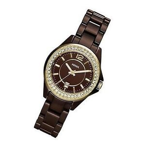 Fossil -CE1055 Brown Ceramic Analog Quartz Watch with Brown Dial