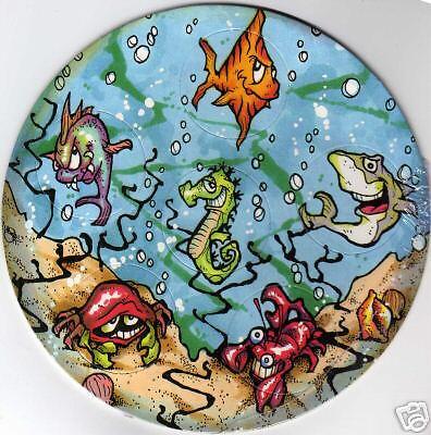 SEA CREATURES CIRCULAR  POG CARD of 6 POGS still intact