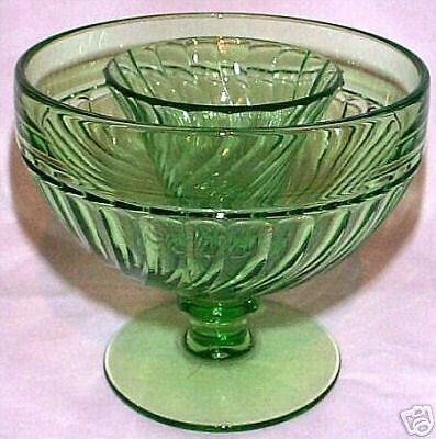 SPIRAL FLUTES GREEN FTD ICER BOWLw/SEAFOOD SAUCE CUP!