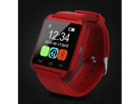 ANDROID SMART WATCH RED BLUETOOTH FOR, iOS, SAMSUNG, IPHONE, SONY, HTC. NEW IN BOX