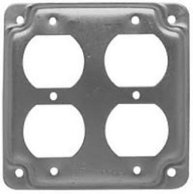 907C 4-Inch Flat Corner Square Double Duplex Receptacle - Quantity 10