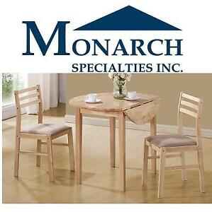 NEW 3PC NATURAL DINING SET I 1006 223788128 DROP LEAF TABLE 2 CHAIRS MONARCH SPECIALTIES INC