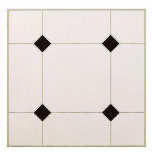 """Black & White Peel & Stick Vinyl Floor Tile, 12 X 12"""", Max, KD0309"""