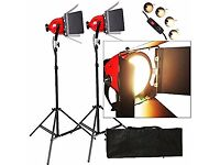 Dimmer built in Pro Photo Video Studio Continuous Red Head Light 800w PERFECT CONDITION (2 Sets