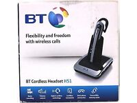 BT Cordless Headset H51 Wireless Phone Calls Noise Cancelling Black Silver New