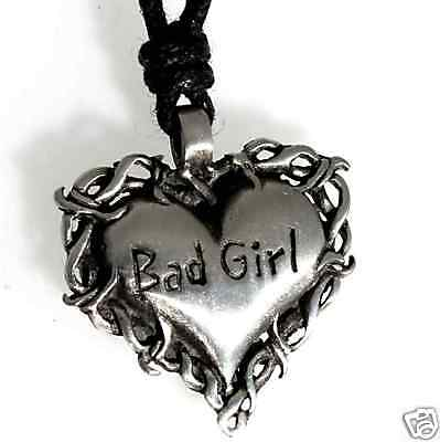 Gothic Girl (47B Silver PEWTER Gothic BAD GIRL Heart Biker)