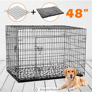 """Portable 48"""" Collapsible Cage Dog Metal Crate Kennel Pet Bed"""