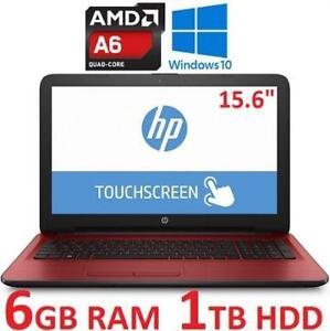 "NEW OB HP TOUCHSCREEN NOTEBOOK PC - 130058177 - 15.6"" AMD A6-7310 6GB RAM 1TB HDD WINDOWS 10 LAPTOP COMPUTER NEW OPEN..."