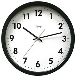 Commercial Wall Clock, Black, 14-In.