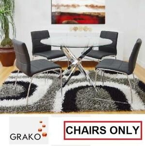4 NEW GRAKO DINING CHAIRS BLACK - 126757694