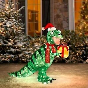Pre-Lit Animated Dinosaur Christmas Yard Decoration